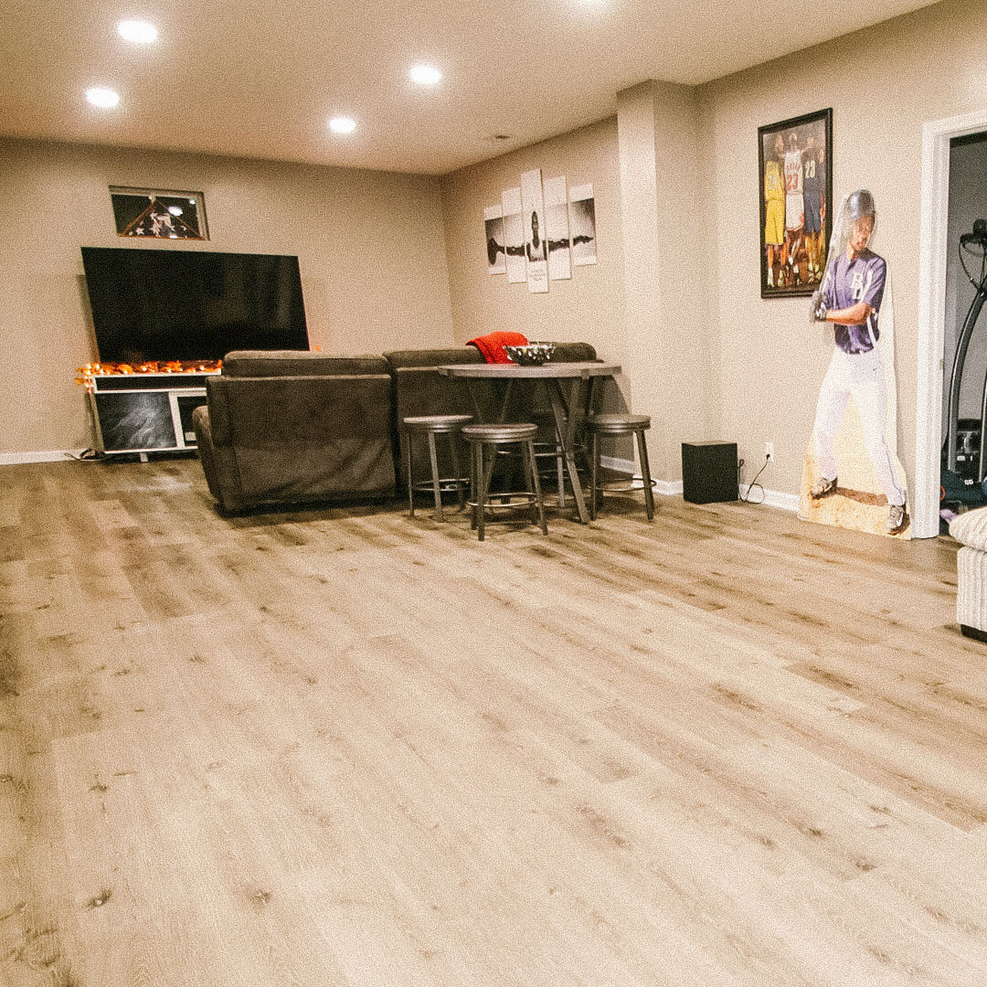 Indian Hills, Indiana basement remodel flooring -construction by Modern Touch Contracting