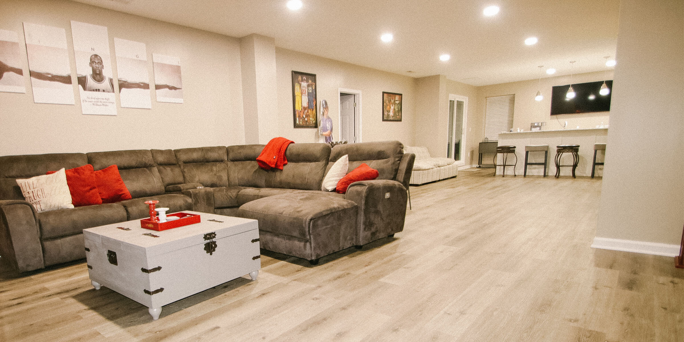 Indian Hills, Indiana basement remodel living area construction by Modern Touch Contracting