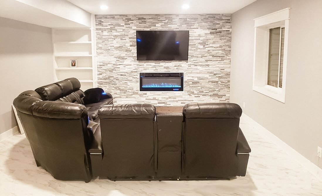 Indianapolis Basement Remodel and Basement Addition - Modern with stone fireplace