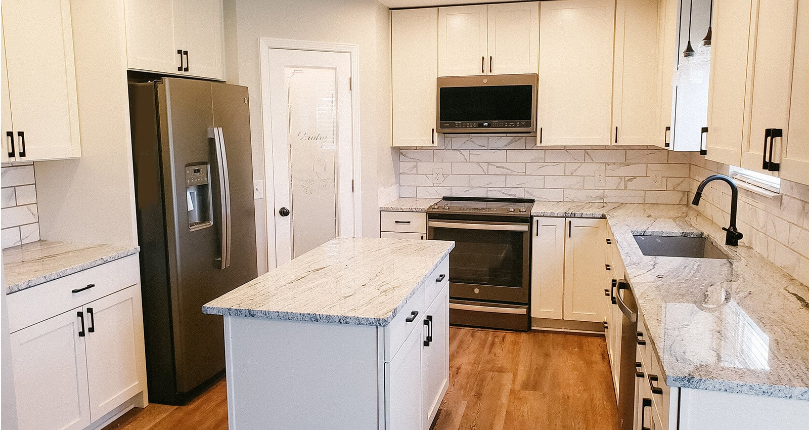 Indianapolis Kitchen Remodel - Plainfield, Indiana Kitchen Remodeling with white cabinets and granite countertops