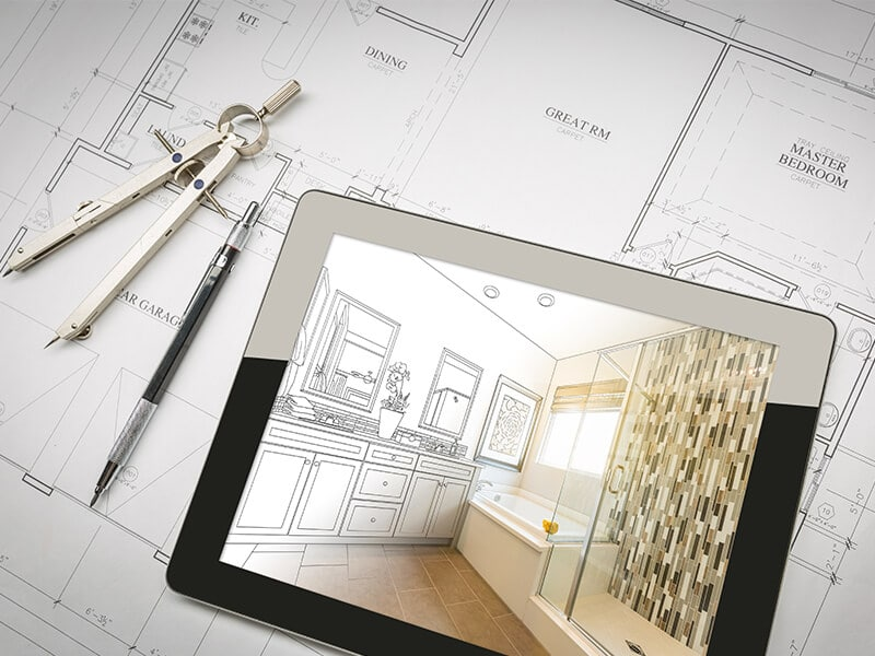 Indianapolis Bathroom Remodeling makeover sketch and design